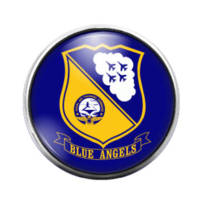 Blue Angels - 18MM Glass Dome Candy Snap Charm GD0902