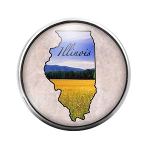 Illinois State- 18MM Glass Dome Candy Snap Charm GD0934