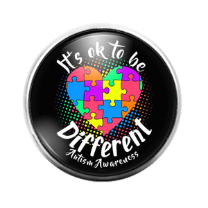 Autism Awareness- 18MM Glass Dome Candy Snap Charm GD1312
