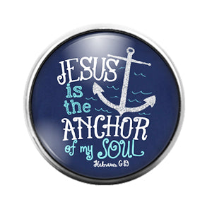 Jesus is my Anchor - 18MM Glass Dome Candy Snap Charm GD1522