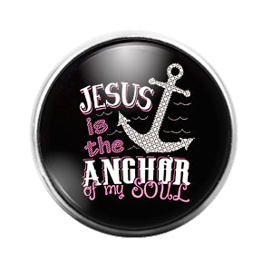 Jesus is my Anchor - 18MM Glass Dome Candy Snap Charm GD1523