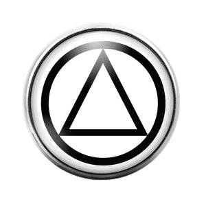 Alcoholics Anonymous Symbol- 18MM Glass Dome Candy Snap Charm GD1204