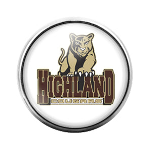Highland Cougars - 18MM Glass Dome Candy Snap Charm GD0832