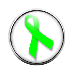 Green Awareness Ribbon - 18MM Glass Dome Candy Snap Charm GD1252