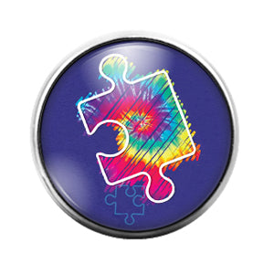 Autism Awareness- 18MM Glass Dome Candy Snap Charm GD1310