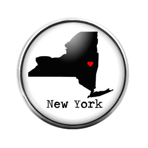 New York- 18MM Glass Dome Candy Snap Charm GD1009
