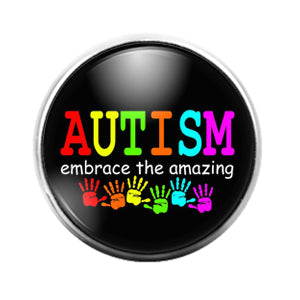 Autism Awareness- 18MM Glass Dome Candy Snap Charm GD1311