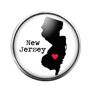 New Jersey- 18MM Glass Dome Candy Snap Charm GD1010