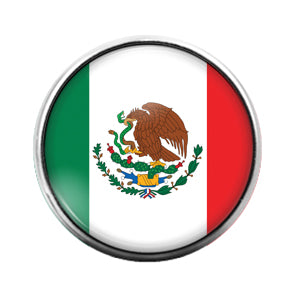 Mexican Flag- 18MM Glass Dome Candy Snap Charm GD1054