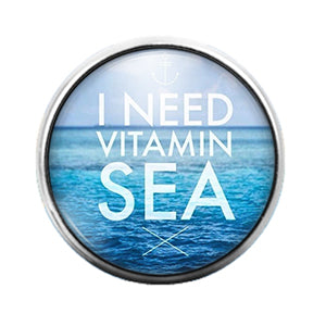 Nautical Beach Vitamin C- 18MM Glass Dome Candy Snap Charm GD1077