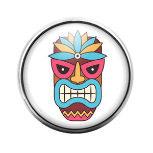 Tiki Face - 18MM Glass Dome Candy Snap Charm GD1395