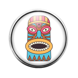 Tiki Face - 18MM Glass Dome Candy Snap Charm GD1396