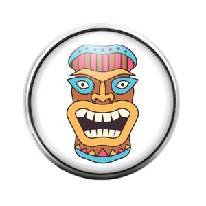 Tiki Face - 18MM Glass Dome Candy Snap Charm GD1397