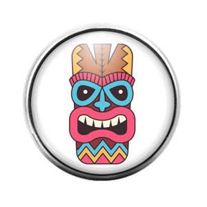 Tiki Face - 18MM Glass Dome Candy Snap Charm GD1398