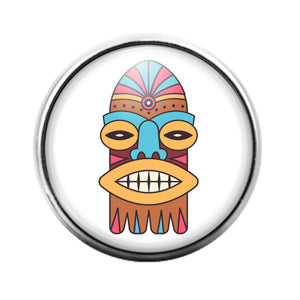 Tiki Face - 18MM Glass Dome Candy Snap Charm GD1399