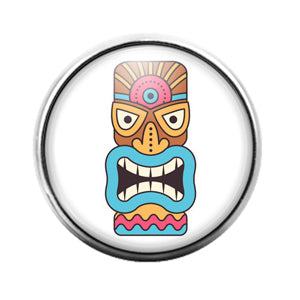 Tiki Face - 18MM Glass Dome Candy Snap Charm GD1400