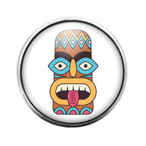 Tiki Face - 18MM Glass Dome Candy Snap Charm GD1402