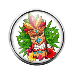 Tiki Face - 18MM Glass Dome Candy Snap Charm GD1403