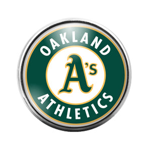Oakland Athletics Baseball  - 18MM Glass Dome Candy Snap Charm GD0921
