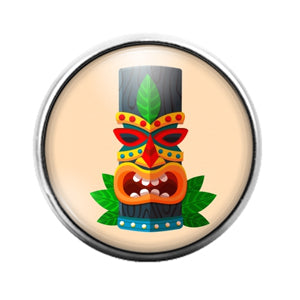 Tiki Face - 18MM Glass Dome Candy Snap Charm GD1404