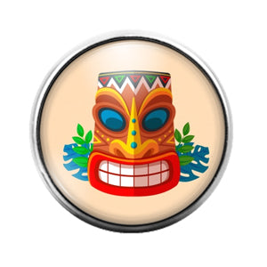 Tiki Face - 18MM Glass Dome Candy Snap Charm GD1405