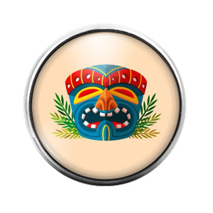 Tiki Face - 18MM Glass Dome Candy Snap Charm GD1407