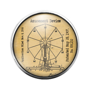 Ferris Wheel - 18MM Glass Dome Candy Snap Charm GD1412