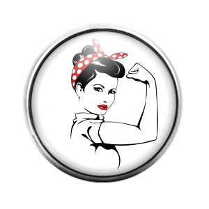 Rosie the Riveter- 18MM Glass Dome Candy Snap Charm GD1532