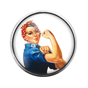 Rosie the Riveter- 18MM Glass Dome Candy Snap Charm GD1533