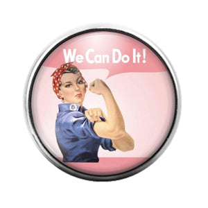 Rosie the Riveter- 18MM Glass Dome Candy Snap Charm GD1534