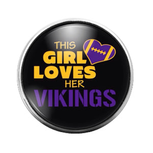 Minnesota Vikings- 18MM Glass Dome Candy Snap Charm GD1030