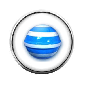 Candy Crush Blue Stripe - 18MM Glass Dome Candy Snap Charm GD0235