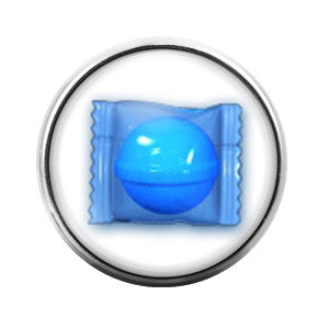 Candy Crush Blue - 18MM Glass Dome Candy Snap Charm GD0234