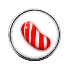 Candy Crush Red Stripe- 18MM Glass Dome Candy Snap Charm GD0229