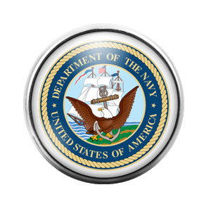 Navy Military Emblem - 18MM Glass Dome Candy Snap Charm GD0251