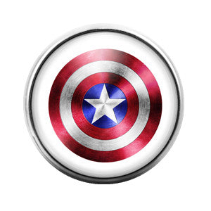 Captain America - 18MM Glass Dome Candy Snap Charm GD0120