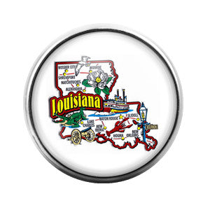 Louisiana - 18MM Glass Dome Candy Snap Charm GD0081