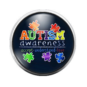 Autism Awareness- 18MM Glass Dome Candy Snap Charm GD0068