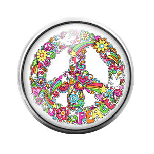 Peace Sign - 18MM Glass Dome Candy Snap Charm GD0268