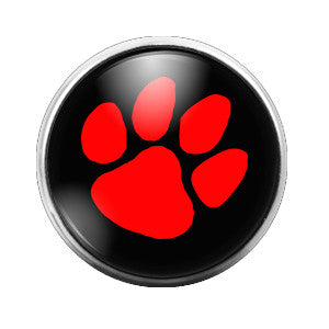 Red Pawprint - 18MM Glass Dome Candy Snap Charm GD0072