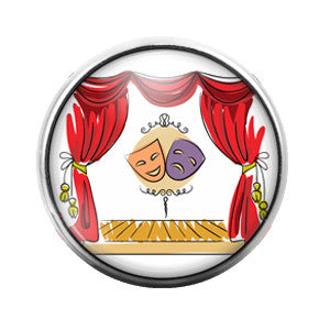Comedy Tragedy Mask Theater- 18MM Glass Dome Candy Snap Charm GD0056