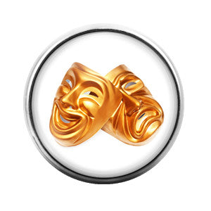 Comedy Tragedy Mask Theater- 18MM Glass Dome Candy Snap Charm GD0055