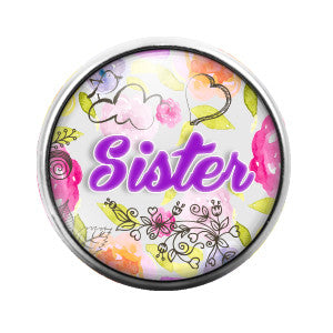 Sister- 18MM Glass Dome Candy Snap Charm GD0324