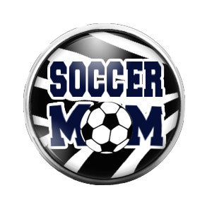 Soccer Mom Zebra Print- 18MM Glass Dome Candy Snap Charm GD0004