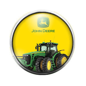 John Deere Tractor - 18MM Glass Dome Candy Snap Charm GD0079