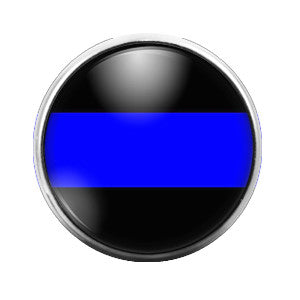 Police Blue Line- 18MM Glass Dome Candy Snap Charm GD0063