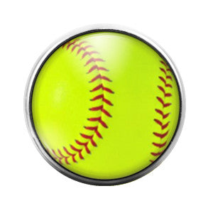 Softball - 18MM Glass Dome Candy Snap Charm GD0362