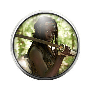 Walking Dead Michonne - 18MM Glass Dome Candy Snap Charm GD0351