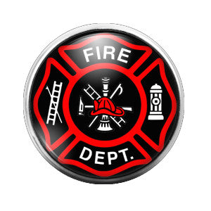 Fire Department Firefighter - 18MM Glass Dome Candy Snap Charm GD0279