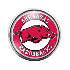Arkansas Razorbacks - 18MM Glass Dome Candy Snap Charm GD0028